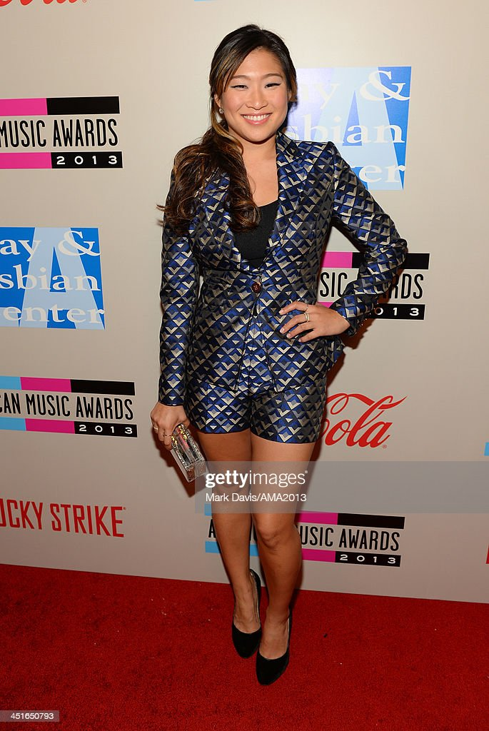 Actress/singer Jenna Ushkowitz attends the American Music Awards Bowling For Charity Event hosted by Lance Bass at Lucky Strike at LA LIVE on...