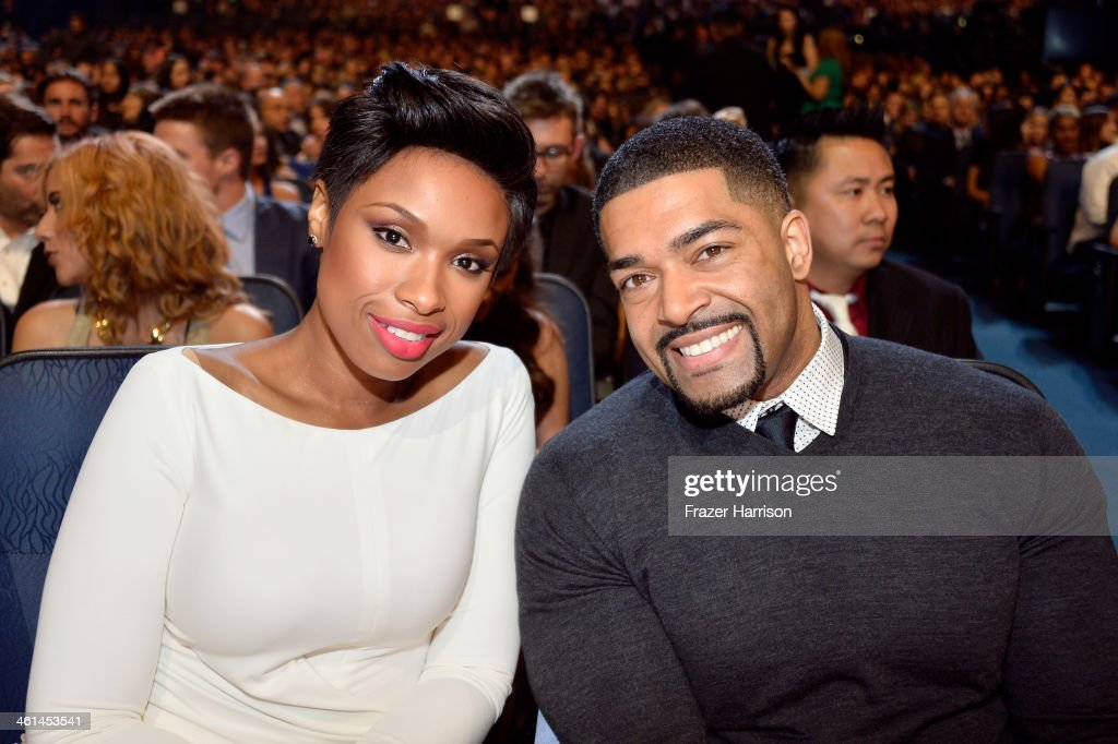 Actresssinger Jennifer Hudson and pro wrestler David Otunga attend The 40th Annual People's Choice Awards at Nokia Theatre LA Live on January 8 2014...