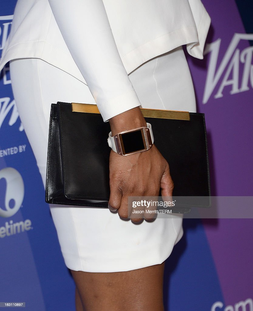 Actress-singer Jennifer Hudson (handbag detail) arrives at Variety's 5th Annual Power of Women event presented by Lifetime at the Beverly Wilshire Four Seasons Hotel on October 4, 2013 in Beverly Hills, California.