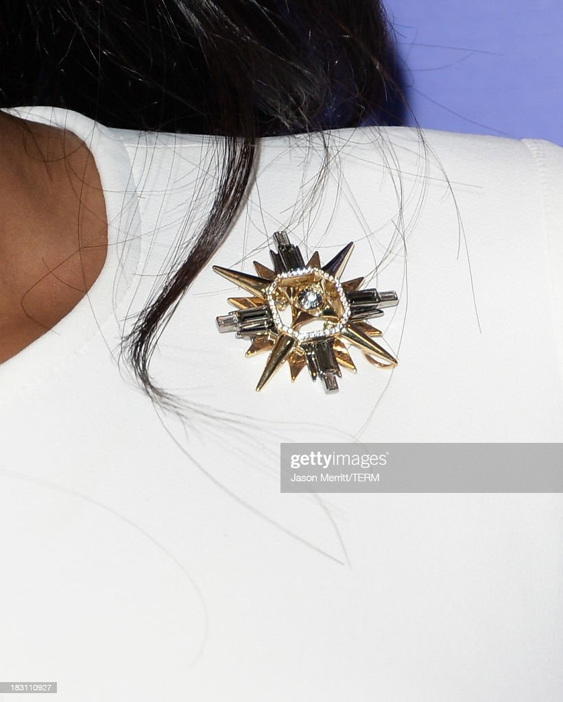 Actress-singer Jennifer Hudson (jewelry detail) arrives at Variety's 5th Annual Power of Women event presented by Lifetime at the Beverly Wilshire Four Seasons Hotel on October 4, 2013 in Beverly Hills, California.