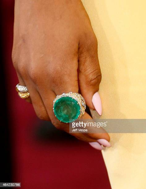 Actress/singer Jennifer Hudson ring detail arrives at the 87th Annual Academy Awards at Hollywood Highland Center on February 22 2015 in Los Angeles...