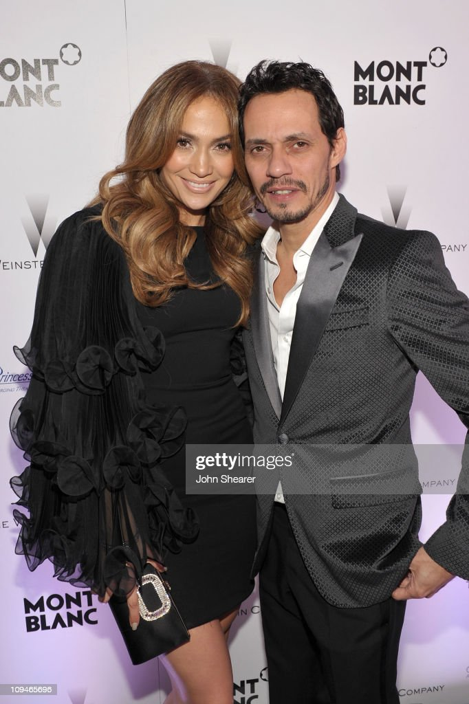 Actress/Singer Jennifer Lopez and Singer Marc Anthony arrive at the Montblanc Cocktail Party cohosted by Harvey and Bob Weinstein celebrating the...