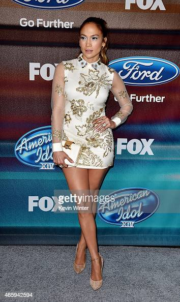 Actress/singer Jennifer Lopez arrives at Fox TV's 'American Idol XIV' finalist party at The District on March 11 2015 in Los Angeles California