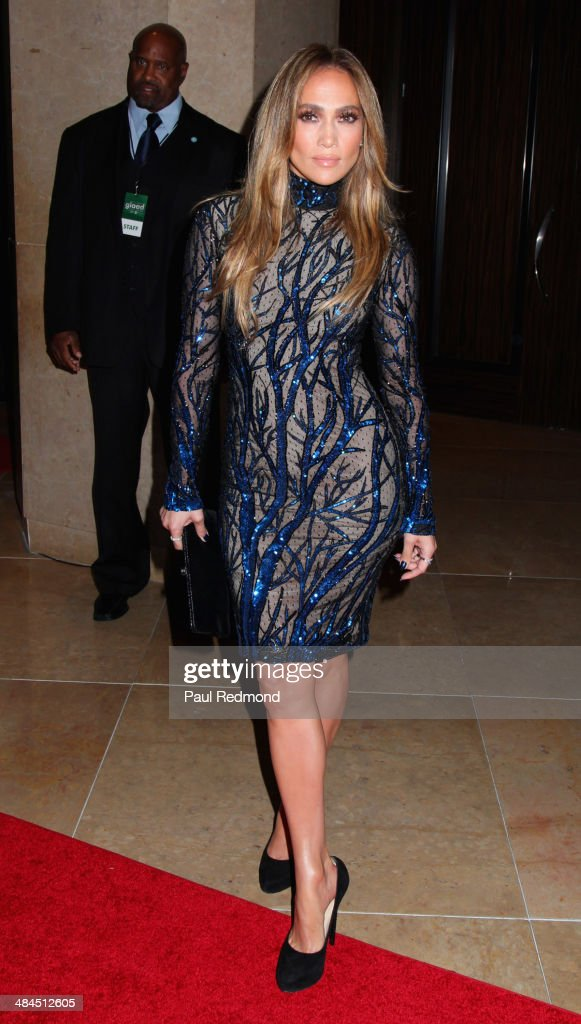 Actress/singer <a gi-track='captionPersonalityLinkClicked' href=/galleries/search?phrase=Jennifer+Lopez&family=editorial&specificpeople=201784 ng-click='$event.stopPropagation()'>Jennifer Lopez</a> arriving at the 25th Annual GLAAD Media Awards at The Beverly Hilton Hotel on April 12, 2014 in Beverly Hills, California.