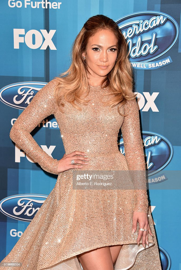 Actress/Singer <a gi-track='captionPersonalityLinkClicked' href=/galleries/search?phrase=Jennifer+Lopez&family=editorial&specificpeople=201784 ng-click='$event.stopPropagation()'>Jennifer Lopez</a> attends FOX's 'American Idol' Finale For The Farewell Season at Dolby Theatre on April 7, 2016 in Hollywood, California. at Dolby Theatre on April 7, 2016 in Hollywood, California. at Dolby Theatre on April 7, 2016 in Hollywood, California.
