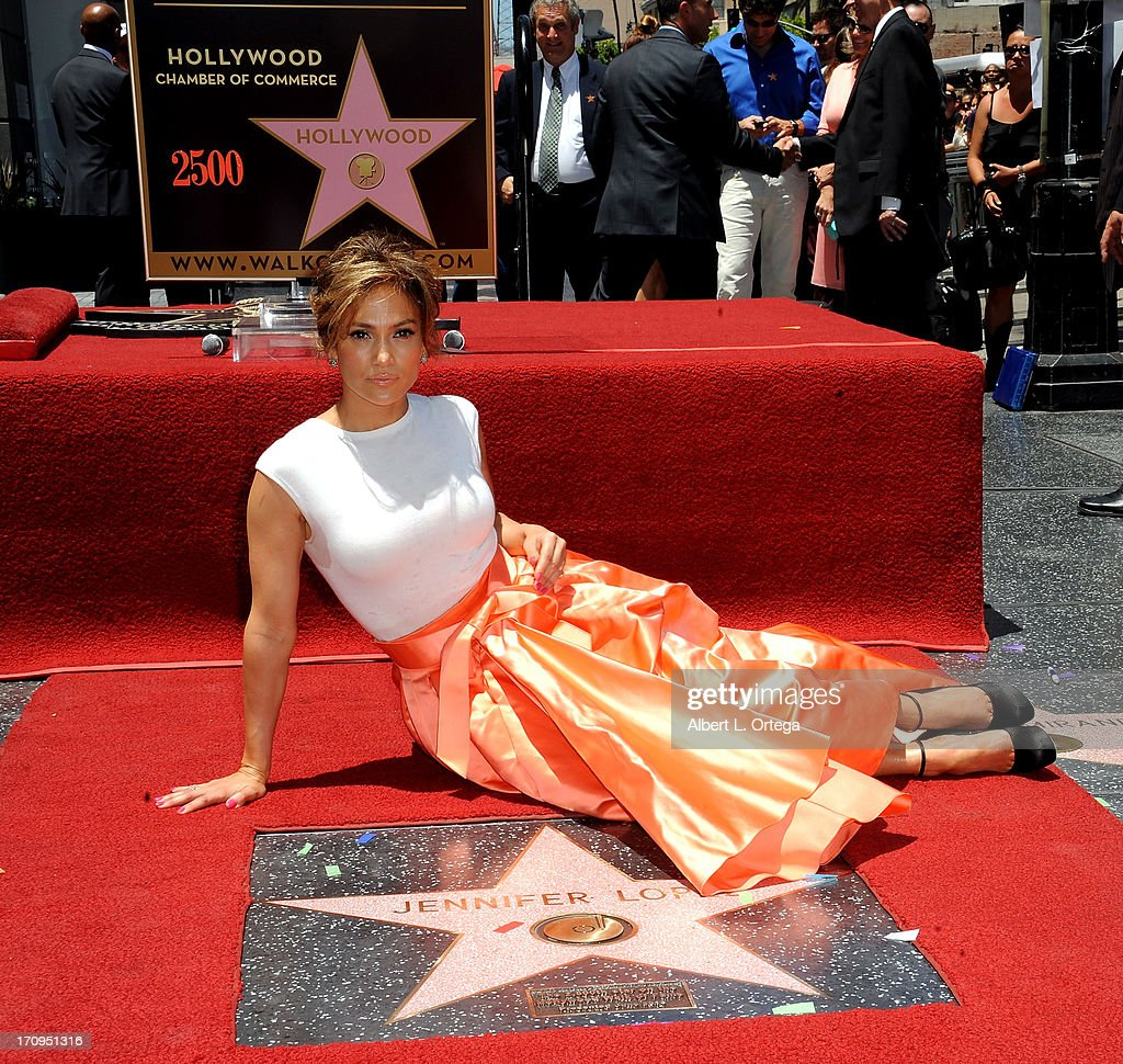 Actress/singer <a gi-track='captionPersonalityLinkClicked' href=/galleries/search?phrase=Jennifer+Lopez&family=editorial&specificpeople=201784 ng-click='$event.stopPropagation()'>Jennifer Lopez</a> Honored On The Hollywood Walk Of Fame on June 20, 2013 in Hollywood, California.