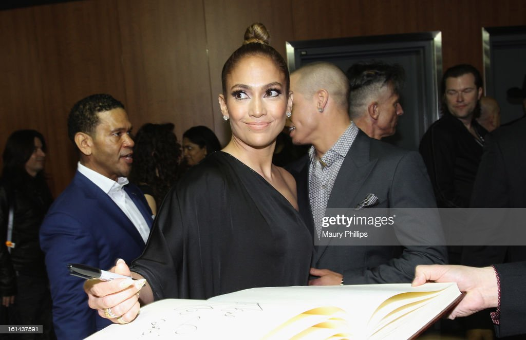 Actress/singer <a gi-track='captionPersonalityLinkClicked' href=/galleries/search?phrase=Jennifer+Lopez&family=editorial&specificpeople=201784 ng-click='$event.stopPropagation()'>Jennifer Lopez</a> poses at the GRAMMY Charities Signing Booth during the 55th Annual GRAMMY Awards at STAPLES Center on February 10, 2013 in Los Angeles, California.