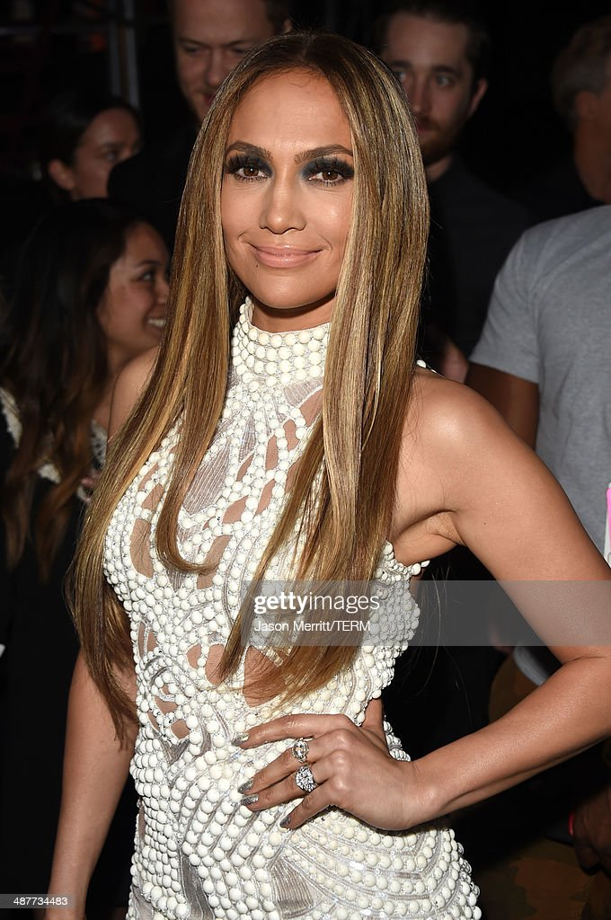 Actress/singer <a gi-track='captionPersonalityLinkClicked' href=/galleries/search?phrase=Jennifer+Lopez&family=editorial&specificpeople=201784 ng-click='$event.stopPropagation()'>Jennifer Lopez</a> poses backstage at the 2014 iHeartRadio Music Awards held at The Shrine Auditorium on May 1, 2014 in Los Angeles, California. iHeartRadio Music Awards are being broadcast live on NBC.