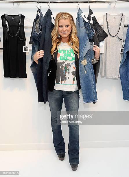 Actress/singer Jessica Simpson wearing Jessica Simpson Jeanswear attends the jeanswear Sneak Peek at the Jessica Simpson Jeanswear Showroom on June...