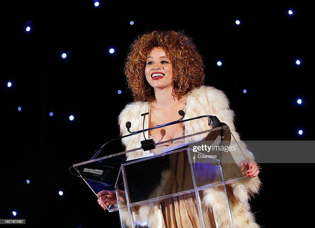 Actress/singer Jillian Hervey presents the Dance Theatre of Harlem's 2013 Vision Award to Vanessa Williams during the Dance Theatre Of Harlem's 44th Anniversary Celebration at Mandarin Oriental Hotel on February 26, 2013 in New York City.