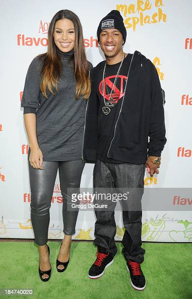 Actress/singer Jordin Sparks and Nick Cannon arrive at the Aquafina FlavorSplash Launch Party at Sony Pictures Studios on October 15 2013 in Culver...