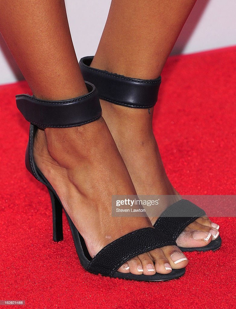 Actress/singer Kat Graham (shoes detail) poses in the press room at the iHeartRadio Music Festival at the MGM Grand Garden Arena September 21, 2012 in Las Vegas, Nevada.