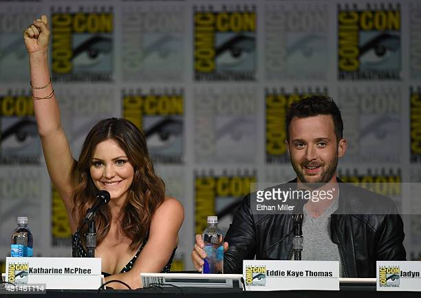 Actress/singer Katharine McPhee and actor Eddie Kaye Thomas attend CBS TV Studios' panel for 'Scorpion' during ComicCon International 2015 at the San...