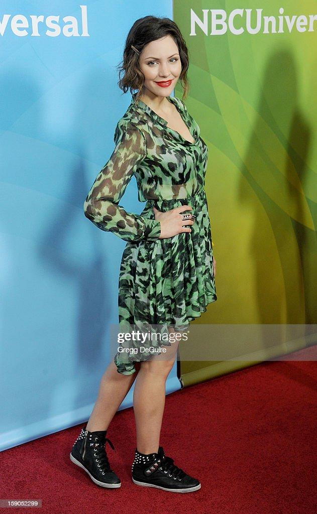 Actress/singer Katharine McPhee poses at the 2013 NBC Universal TCA Winter Press Tour Day 1 at The Langham Huntington Hotel and Spa on January 6, 2013 in Pasadena, California.