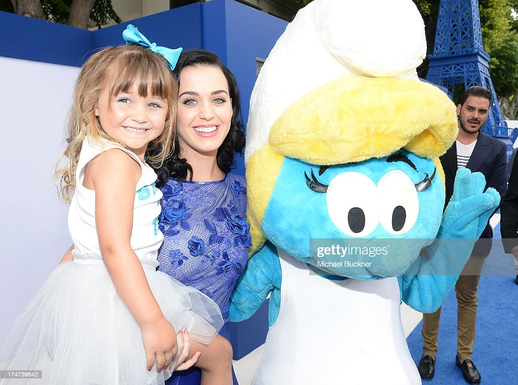 Actress/singer <a gi-track='captionPersonalityLinkClicked' href=/galleries/search?phrase=Katy+Perry&family=editorial&specificpeople=599558 ng-click='$event.stopPropagation()'>Katy Perry</a> (R) attends the Los Angeles premiere of 'The Smurfs 2' at Regency Village Theatre on July 28, 2013 in Westwood, California.