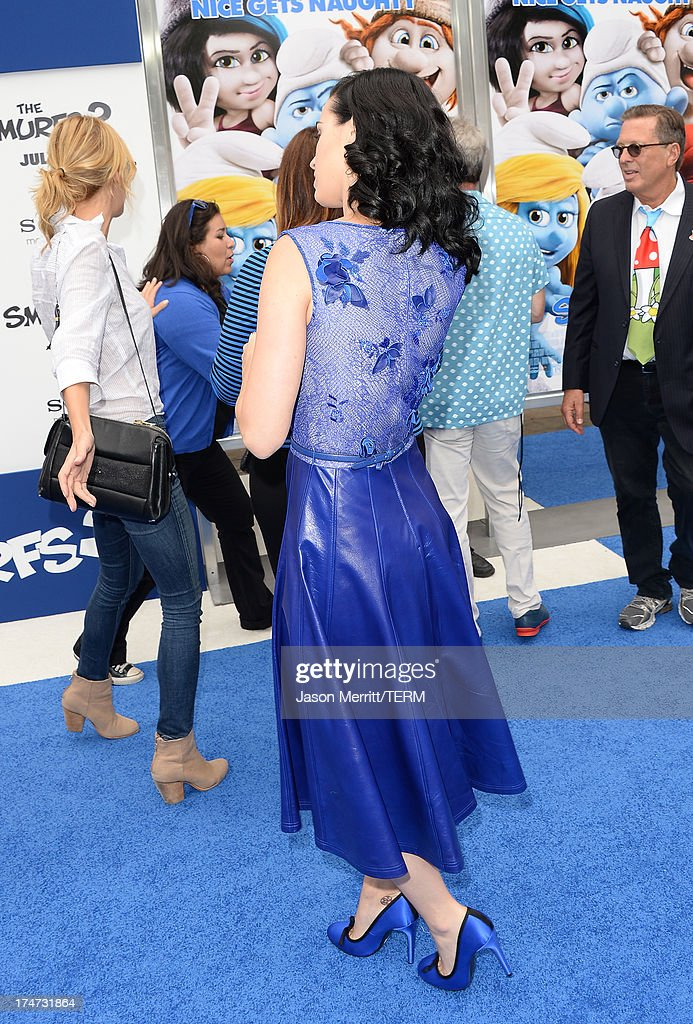Actress/Singer Katy Perry attends the premiere of Columbia Pictures' 'Smurfs 2' at Regency Village Theatre on July 28, 2013 in Westwood, California.