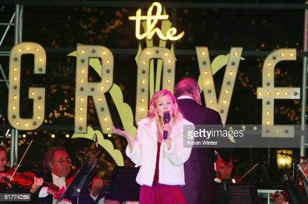 Actress/singer Kristen Bell performs at 'Christmas at The Grove Tree Lighting Celebration' at The Grove on November 21 2004 in Los Angeles California