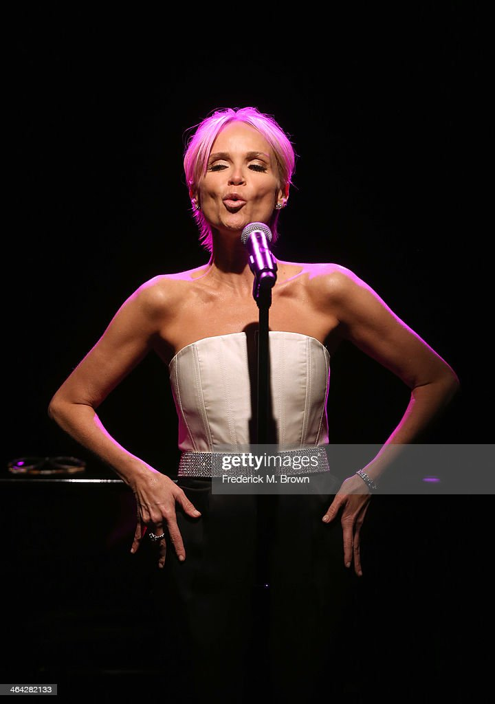 Actress/Singer <a gi-track='captionPersonalityLinkClicked' href=/galleries/search?phrase=Kristin+Chenoweth&family=editorial&specificpeople=207096 ng-click='$event.stopPropagation()'>Kristin Chenoweth</a> peforms at the 2014 Winter Television Critics Association tour dinner at Langham Hotel on January 21, 2014 in Pasadena, California.