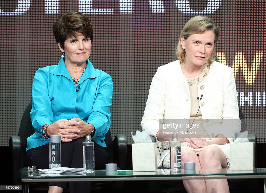 Actress/singer <a gi-track='captionPersonalityLinkClicked' href=/galleries/search?phrase=Lucie+Arnaz&family=editorial&specificpeople=211352 ng-click='$event.stopPropagation()'>Lucie Arnaz</a> (L) and Terre Blair Hamlisch speak onstage during the 'Marvin Hamlisch: The Way He Was' panel discussion at the PBS portion of the 2013 Summer Television Critics Association tour at the Beverly Hilton Hotel on August 7, 2013 in Beverly Hills, California.