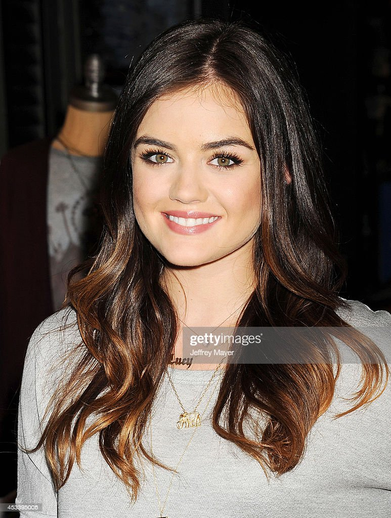 Actress/singer <a gi-track='captionPersonalityLinkClicked' href=/galleries/search?phrase=Lucy+Hale&family=editorial&specificpeople=4430849 ng-click='$event.stopPropagation()'>Lucy Hale</a> appears at The Hollister store at the Westfield Century City mall to launch her first collection on August 9, 2014 in Century City, California.