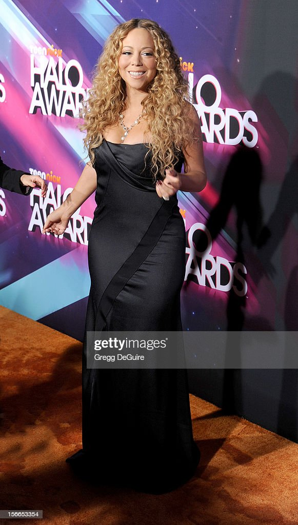 Actress/singer <a gi-track='captionPersonalityLinkClicked' href=/galleries/search?phrase=Mariah+Carey&family=editorial&specificpeople=171647 ng-click='$event.stopPropagation()'>Mariah Carey</a> arrives at the TeenNick HALO Awards at The Hollywood Palladium on November 17, 2012 in Los Angeles, California.