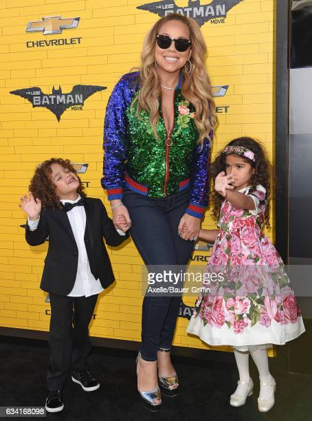 Actress/singer Mariah Carey son Moroccan Scott Cannon and daughter Monroe Cannon arrive at the premiere of Warner Bros Pictures' 'The LEGO Batman...