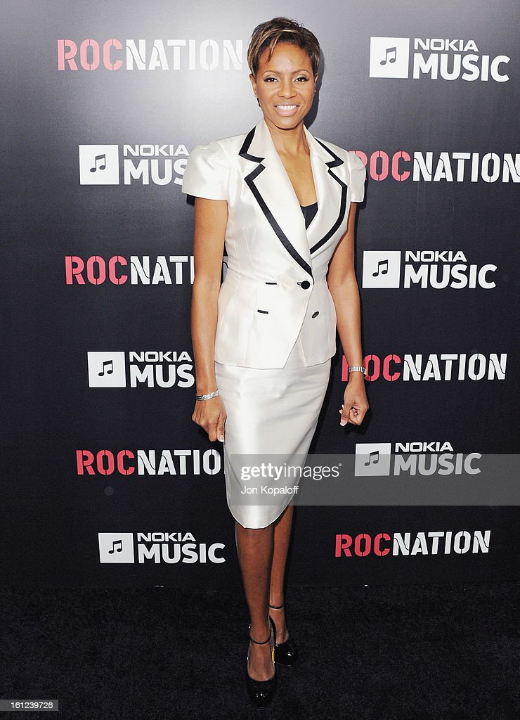 Actress/Singer MC Lyte arrives at Roc Nation Hosts Annual Private Pre-GRAMMY Brunch at Soho House on February 9, 2013 in West Hollywood, California.