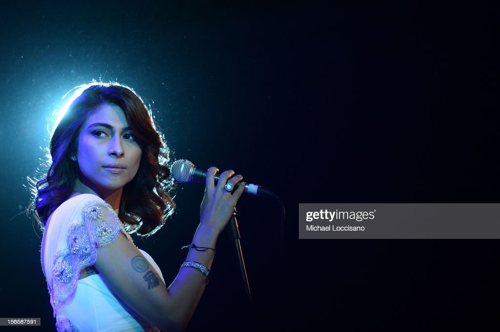 Actress/singer Meesha Shafi performs at the opening night ceremony and gala screening of 'The Reluctant Fundamentalist' during the 2012 Doha Tribeca...