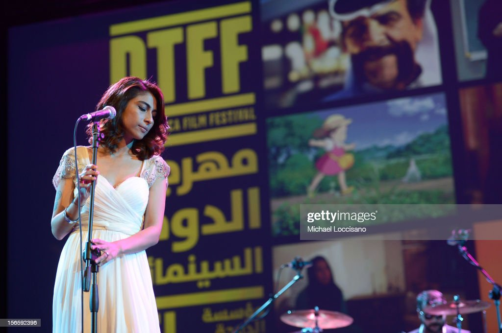 Actress/singer Meesha Shafi performs at the opening night ceremony and gala screening of 'The Reluctant Fundamentalist' during the 2012 Doha Tribeca Film Festival at Al Mirqab Hotel on November 17, 2012 in Doha, Qatar.