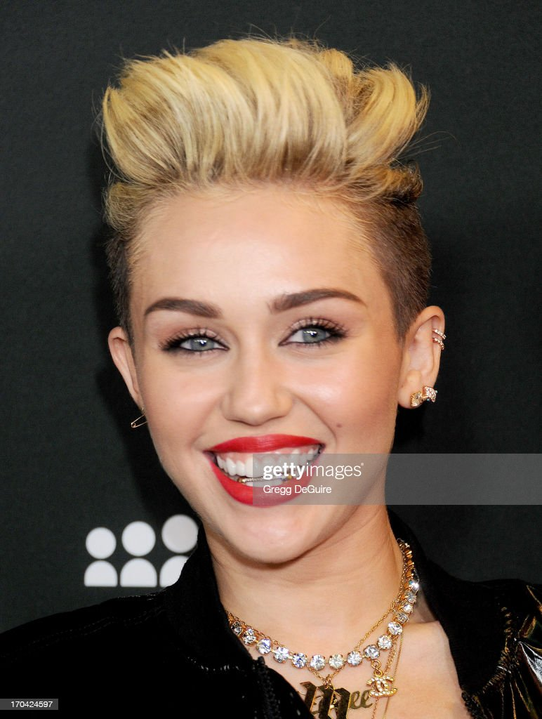 Actress/singer <a gi-track='captionPersonalityLinkClicked' href=/galleries/search?phrase=Miley+Cyrus&family=editorial&specificpeople=3973523 ng-click='$event.stopPropagation()'>Miley Cyrus</a> arrives at the Myspace event at El Rey Theatre on June 12, 2013 in Los Angeles, California.