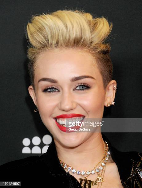 Actress/singer Miley Cyrus arrives at the Myspace event at El Rey Theatre on June 12 2013 in Los Angeles California