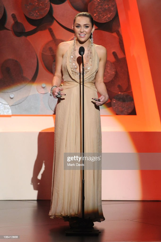Actress/singer Miley Cyrus speaks onstage at the American Giving Awards presented by Chase held at the Dorothy Chandler Pavilion on December 9 2011...