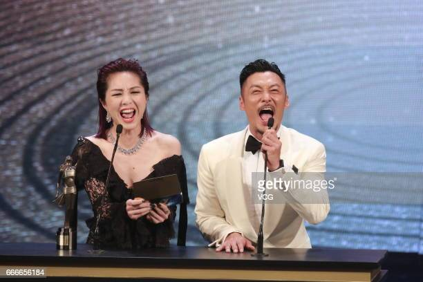 Actress/Singer Miriam Yeung and actor Shawn Yue Manlok perform onstage during the 36th Hong Kong Film Awards ceremony at Hong Kong Cultural Centre on...