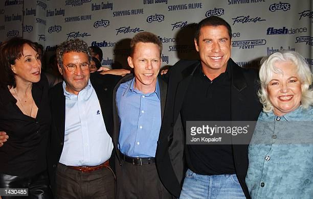 Actress/Singer Olivia NewtonJohn and actor John Travolta with the cast from the movie 'Grease' attends the Celebration of Paramount Studio's 90th...