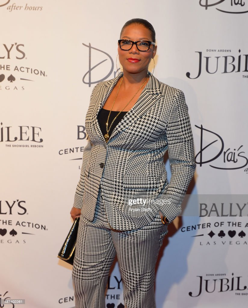 Actress/singer <a gi-track='captionPersonalityLinkClicked' href=/galleries/search?phrase=Queen+Latifah&family=editorial&specificpeople=171793 ng-click='$event.stopPropagation()'>Queen Latifah</a> arrives at the 'Jubilee!' show's grand reopening at Ballys Las Vegas on March 29, 2014 in Las Vegas, Nevada.