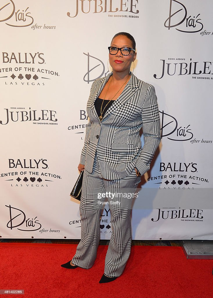Actress/singer Queen Latifah arrives at the 'Jubilee!' show's grand reopening at Ballys Las Vegas on March 29, 2014 in Las Vegas, Nevada.