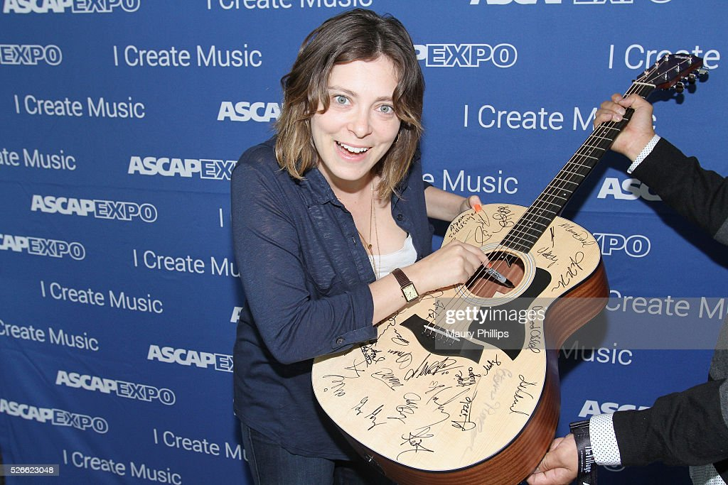 Actress/singer <a gi-track='captionPersonalityLinkClicked' href=/galleries/search?phrase=Rachel+Bloom&family=editorial&specificpeople=11358824 ng-click='$event.stopPropagation()'>Rachel Bloom</a> signs a #StandWithSongwriters guitar, which will be presented in May to members of Congress to urge them to support reform of outdated music licensing laws, during the 2016 ASCAP 'I Create Music' EXPO on April 30, 2016 in Los Angeles, California.