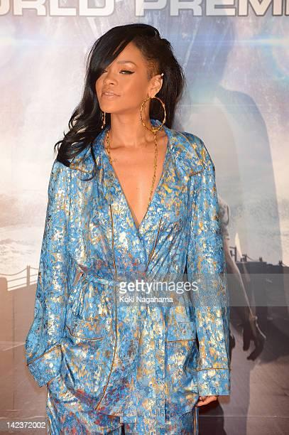 Actress/singer Rihanna attends the 'Battleship' Japan Premiere at International Yoyogi first gymnasium on April 3 2012 in Tokyo Japan