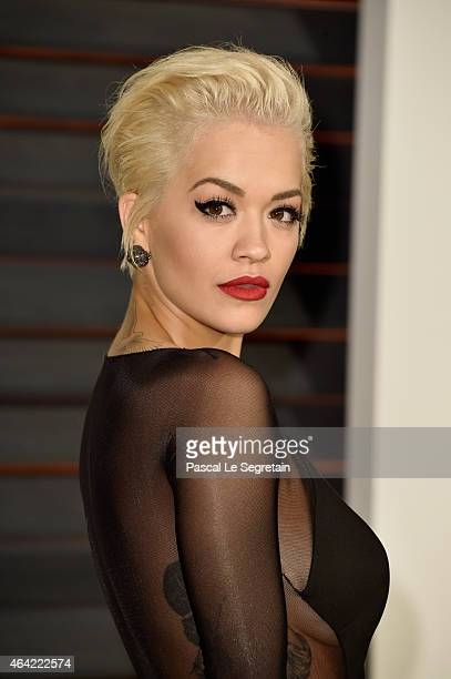 Actress/singer Rita Ora attends the 2015 Vanity Fair Oscar Party hosted by Graydon Carter at Wallis Annenberg Center for the Performing Arts on...