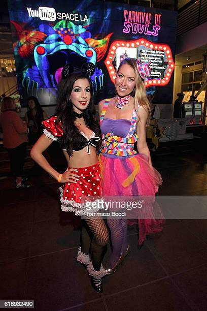 Actress/Singer Roxy Darr and Angela Daun attend the YouTube Space LA 'Carnival Of Souls' Halloween Party at YouTube Space LA on October 28 2016 in...