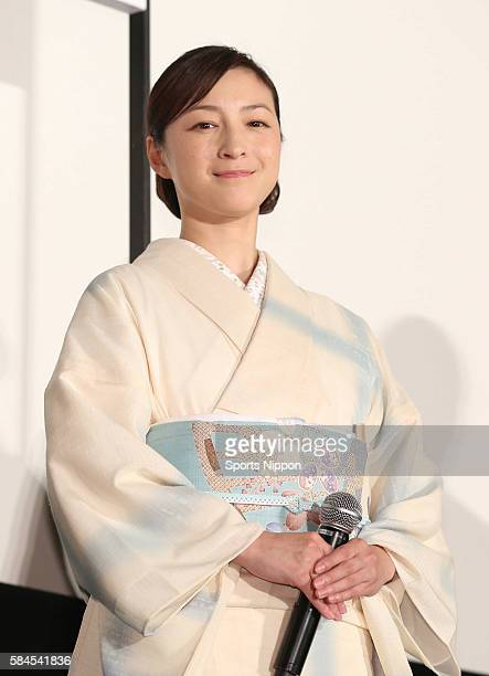 Actress/singer Ryoko Hirosue attends preview screening of the 'Snow on the Blades' on September 9 2014 in Tokyo Japan