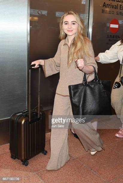 Actress/singer Sabrina Carpenter is seen upon arrival at Haneda Airport on March 24 2017 in Tokyo Japan