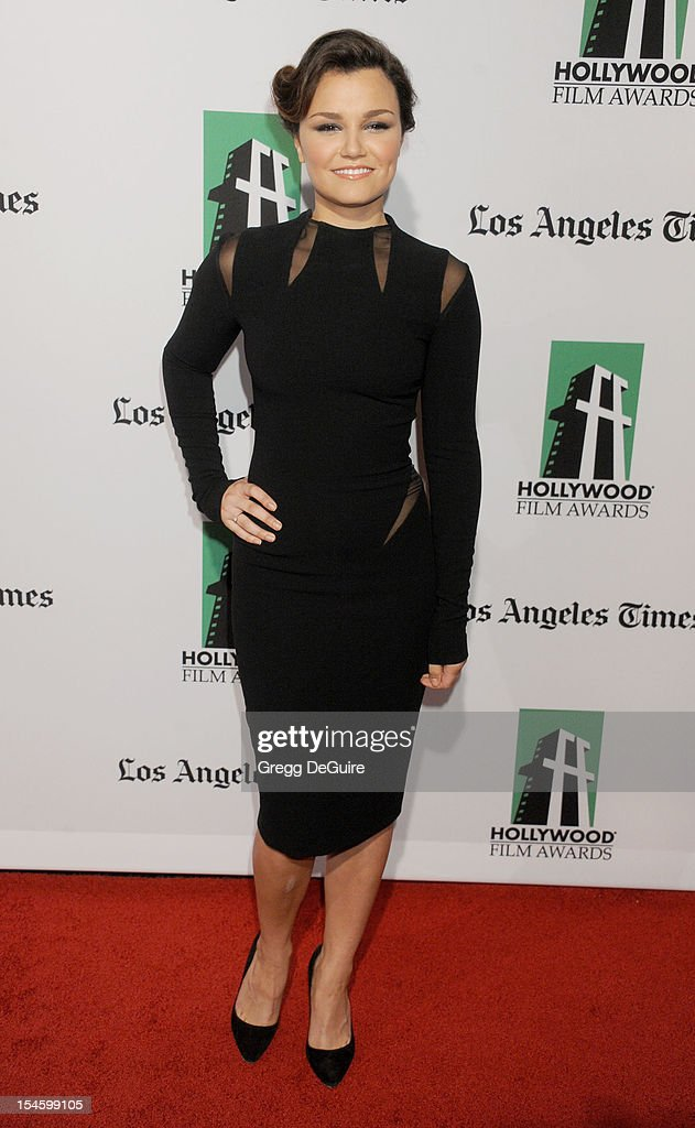 Actress/singer Samantha Barks arrives at the 16th Annual Hollywood Film Awards Gala presented by the Los Angeles Times at The Beverly Hilton Hotel on October 22, 2012 in Beverly Hills, California.