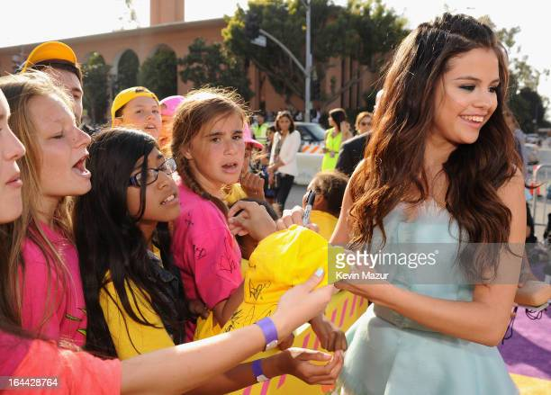 Actress/singer Selena Gomez arrives at Nickelodeon's 26th Annual Kids' Choice Awards at USC Galen Center on March 23 2013 in Los Angeles California