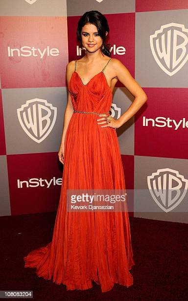 Actress/singer Selena Gomez arrives at the 2011 InStyle And Warner Bros 68th Annual Golden Globe Awards postparty held at The Beverly Hilton hotel on...