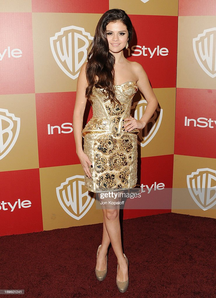 Actress/singer Selena Gomez arrives at the InStyle And Warner Bros. Golden Globe Party at The Beverly Hilton Hotel on January 13, 2013 in Beverly Hills, California.