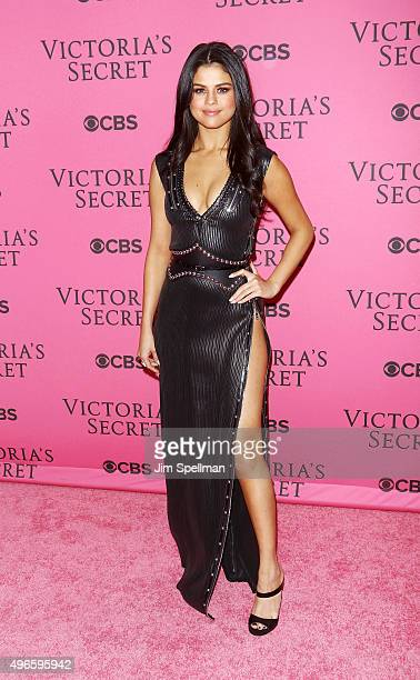 Actress/singer Selena Gomez attends the 2015 Victoria's Secret Fashion Show pink carpet arrivals at Lexington Armory on November 10 2015 in New York...