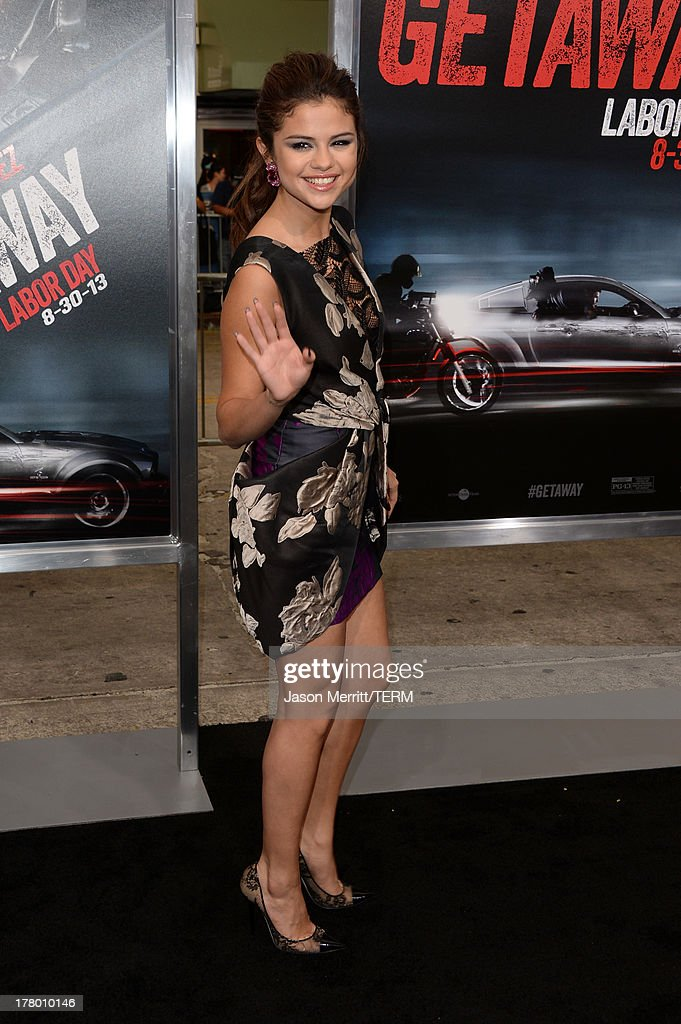 Actress/singer <a gi-track='captionPersonalityLinkClicked' href=/galleries/search?phrase=Selena+Gomez&family=editorial&specificpeople=4295969 ng-click='$event.stopPropagation()'>Selena Gomez</a> attends the premiere of 'Getaway' presented by Warner Bros. Pictures at Regency Village Theatre on August 26, 2013 in Westwood, California.