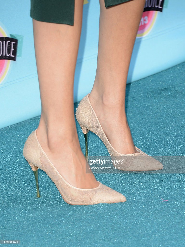 Actress-singer Selena Gomez (shoe detail) attends the Teen Choice Awards 2013 at Gibson Amphitheatre on August 11, 2013 in Universal City, California.