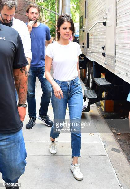 Actress/Singer Selena Gomez is seen on set of Woody Allen movie on September 14 2017 in New York City
